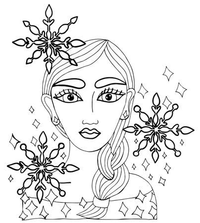 spangles: Portrait of beautiful girl with snowflakes and spangles in the hair. Winter style can be used as a card of beauty shop and other salon. Mono color black line art element for adult coloring book page design.