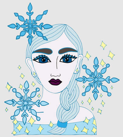 spangles: Portrait of girl with snowflakes and spangles in the hair. Winter style can be used as a card of beauty shop and other salon. Colorful element for adult coloring book page design.