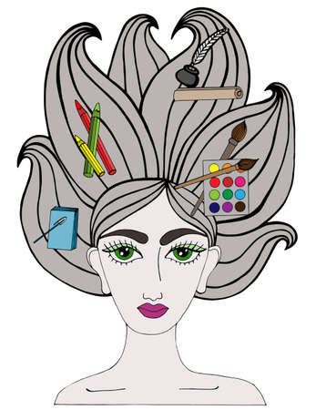 page long: Colorful portrait of girl with art tool on the long hair. Notebook, pen, crayons, feather and inks, paper, brushes, paints on the hair. Multicolor art element for adult coloring book page design.