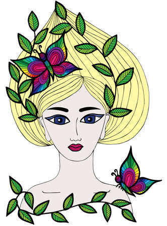 page long: Multicolor portrait of a beautiful girl with butterfly and leaves on the long hair. Art element for adult coloring book page design.