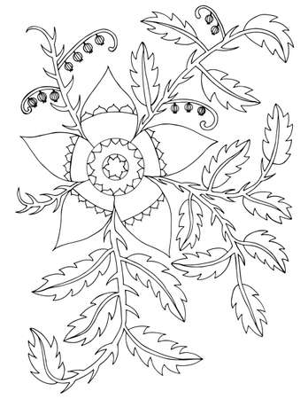 black berry: Black line abstract flower and leaves with berry for adult or kids coloring book and page on the white background Illustration