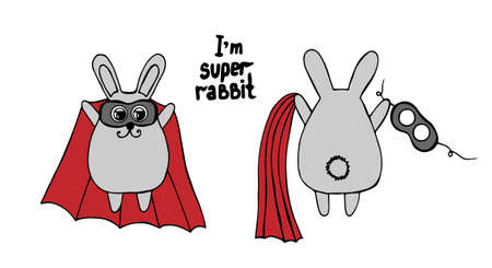 i kids: Rabbit in a red cloak and in a mask. At the front and behind with text I am a super rabbit. For adult and kids coloring book isolated on the white background.