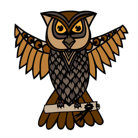 broun: Isolated broun owl which carries a scroll with a message. Illustration for anti stress coloring book, tattoo, poster, print, t-shirt.