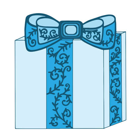 blue gift box: Blue gift box with ribbon and bow isolated on the white background.