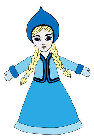 blond hair: Winter beautiful girl with long blond hair on the blue dress. Mono color black line art element for adult coloring book page design. Illustration
