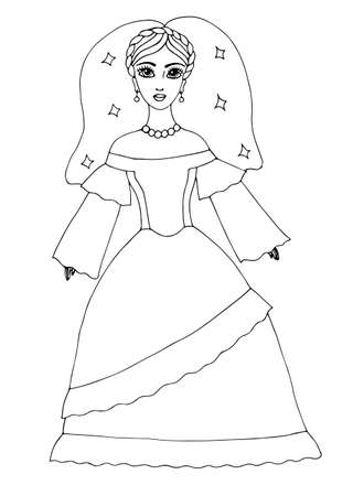 page long: Wedding celebrate beautiful girl in long dress. Mono color black line art element for adult coloring book page design.