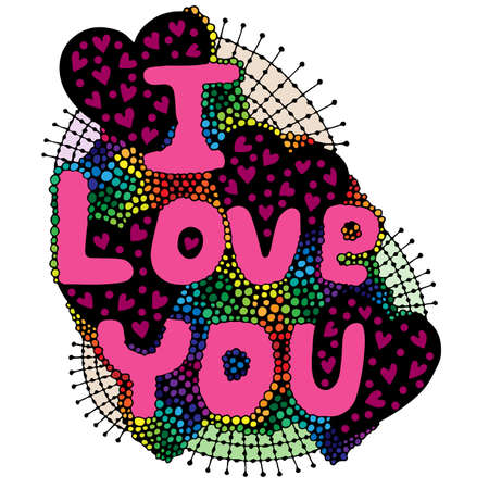 Colorful word lettering I love you  with heart on the white background. Illustration
