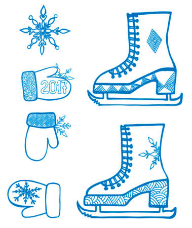 mitten: Winter element design with snowflake, skates, mitten isolated on the white background. Can be used for card, invitation, posters, texture backgrounds, placards, banners. Illustration