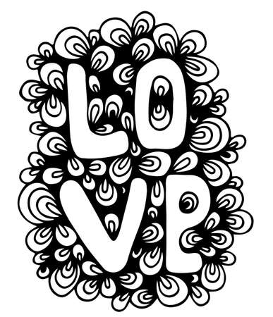 Love card lettering isolated on the white background. Mono color black line art element for adult coloring book page design. Illustration