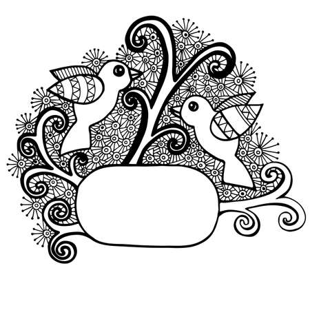 two page: Abstract design with two bird and place for text. Mono color black line art element for adult coloring book page design.