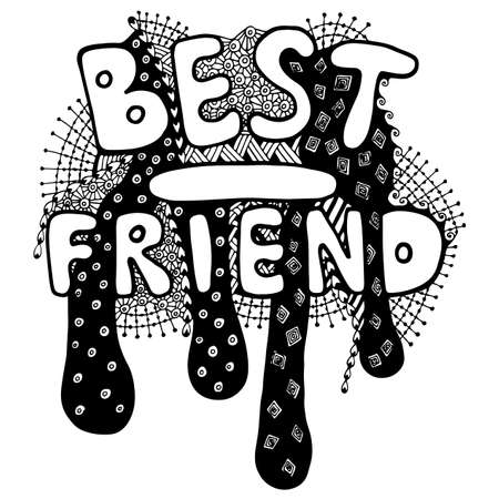 Lettering Best friend  with abstract pattern. Can be used for card, invitation, posters, texture backgrounds, placards, banners.