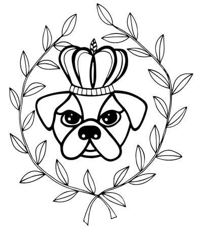 crone: Black line head dog with crone and leaves. For tattoo, card, invitation, posters, texture backgrounds, placards, banners.