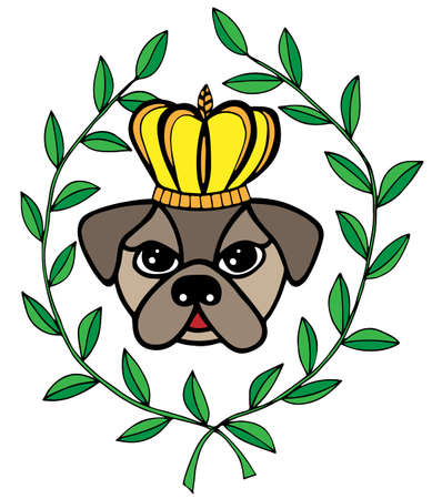 crone: Colorful head dog with crone and leaves. For tattoo, card, invitation, posters, texture backgrounds, placards, banners.