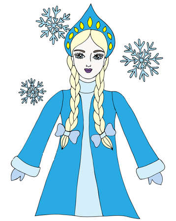 snow queen: Colorful snow queen winter girl with snowflake. Element for adult coloring book page design. Illustration
