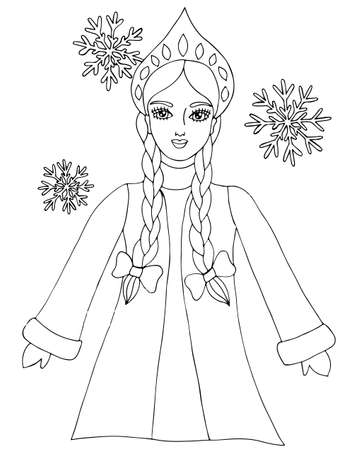 snow queen: Snow queen winter girl with snowflake. Mono color black line art element for adult coloring book page design. Illustration
