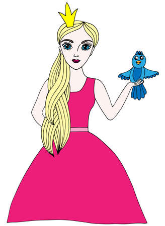 crone: Colorful young beautiful girl in crone with bird. Multicolor line art element for adult coloring book page design.