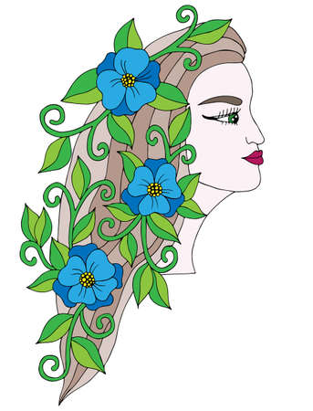 page long: Head young beautiful girl with blue  flower in the long hair. Art element for adult coloring book page design, child magazine, shirt and other.