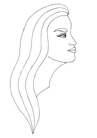 Junge Schöne Mädchen Mit Langen Haaren. Mono Farbe Schwarze Linie ...