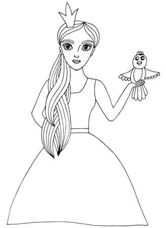 crone: Young beautiful girl in crone with bird. Mono color black line art element for adult coloring book page design. Illustration