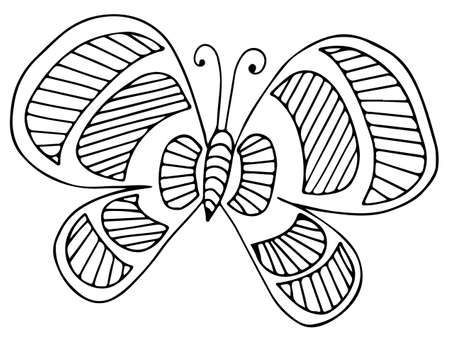 Black line butterfly for greeting card, coloring book, invitation, posters, texture backgrounds, placards, banners.