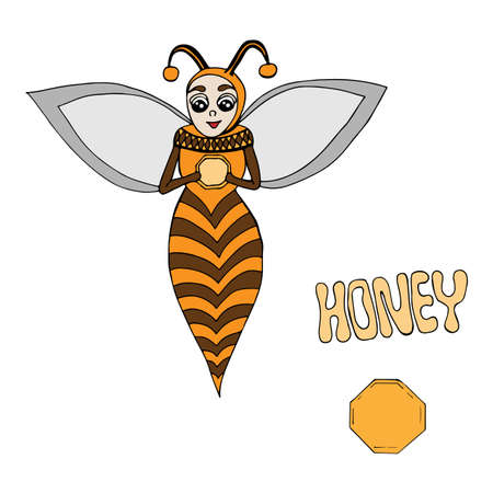 Vector cartoon bee hold a hand  a delicious honey. Art element for adult coloring book page design, child magazine, banner, template.