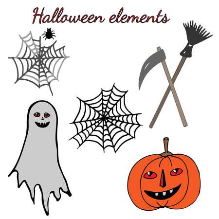 Halloween Con Calabaza, Fantasma, Tela De Araña. Para Fiesta De ...