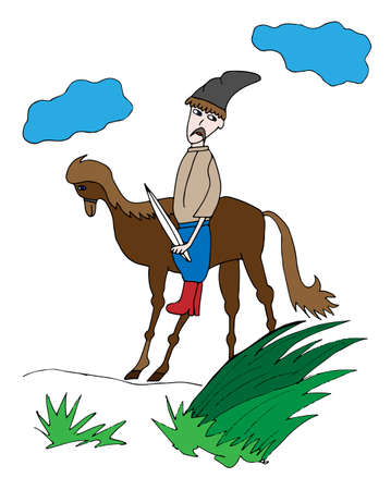 Colorful cossack on a horse silhouettes. Picture  for adult coloring book page design, child magazine, banner, template. Illustration