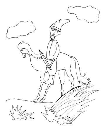 cavalryman: Cossack on a horse silhouettes. Picture  for adult coloring book page design, child magazine, banner, template.