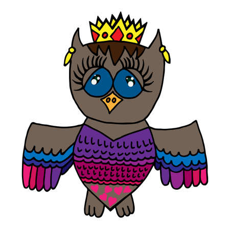 crone: Colorful cute owl in crone. Picture for adult coloring book page design, child magazine, banner, template.