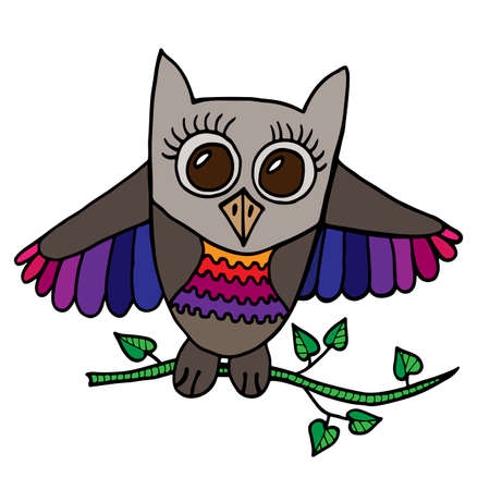 Colorful cute owl sits on a branch with leaves. Picture for adult coloring book page design, child magazine, banner, template.