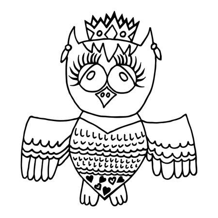 crone: Cute owl in crone. Picture for adult coloring book page design, child magazine, banner, template.