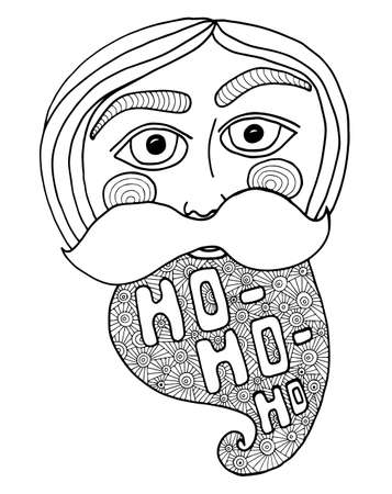 old man portrait: Santa head abstract vector illustration. Coloring book page for kids and adults. Illustration