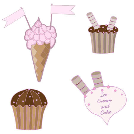 white patches: Set with ice cream and cake of stickers, pins, patches in cartoon. Vector illustration isolated on white background. Illustration