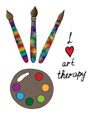 Art tools with colorful brushes and paints with I love art therapy text. For banners, labels, badges, prints, posters, web. Vector illustration. Illustration