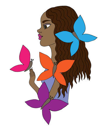 afro american: Colorful young beautiful afro American girl with butterfly. Mono color black line art element for adult coloring book page design.