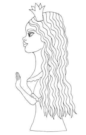 crone: Young beautiful afro American girl on crone with long hair. Mono color black line art element for adult coloring book page design.