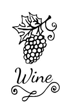 template wine emblem with garden stuffs and leaves of vine for
