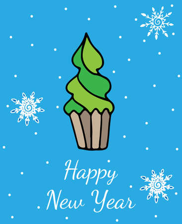 christmas cake: New Year greeting card or poster with new year tree on blue background vector illustration.
