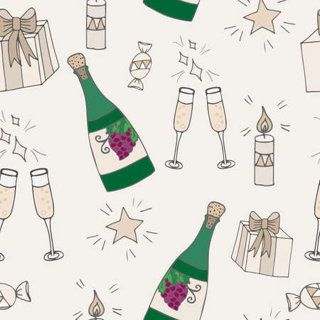 wine gift: Vintage seamless with bottle of wine, gift with bow, glass and star on beige background. Can be used for printing on fabric, for wrapping paper and for the background of the site.