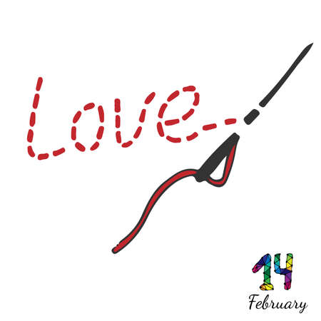 fourteenth: Embroidered inscription is love with needle and thread. Fourteenth February inscription. Vector illustration for Valentine day.