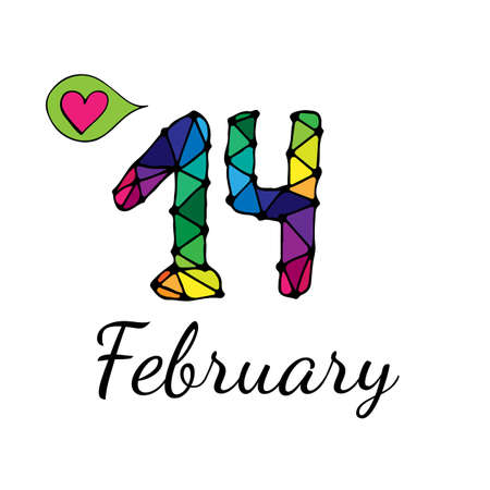 fourteenth: Fourteenth February inscription with balloon with heart. Vector illustration for Valentine day.