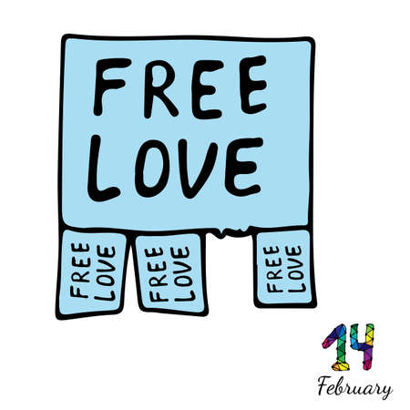 announcing: Isolated blue announcing free love. Fourteenth February inscription. Vector illustration for Valentine day. Illustration