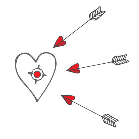purpose: Isolated purpose with a heart and flying arrows. Vector illustration for Valentines day. Illustration