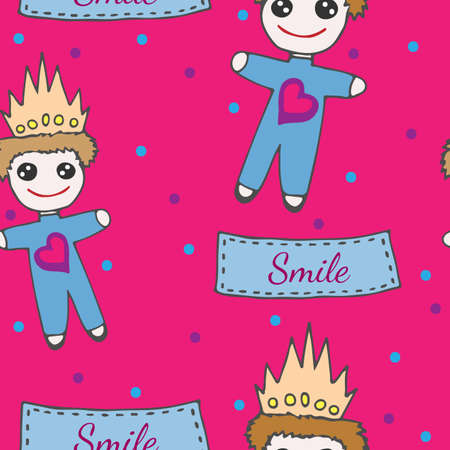 crone: Child seamless pattern with little prince toy on crone and with heart. Smile inscription on the lable. Illustration
