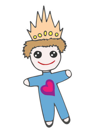 crone: Colorful little prince toy on crone and with heart. Vector illustration for invitations, magazine, greeting cards, quotes, blogs, posters and more. Illustration