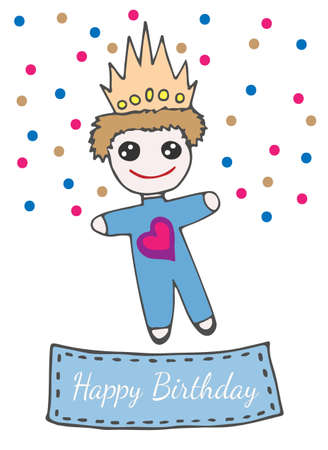 crone: Happy birthday greeting card with llittle prince toy on crone and with heart. Vector illustration for invitations, magazine, greeting cards, quotes, blogs, posters and more.