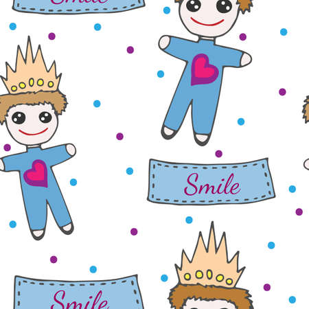 crone: Seamless pattern with little prince toy on crone and with heart. Smile inscription on the lable.