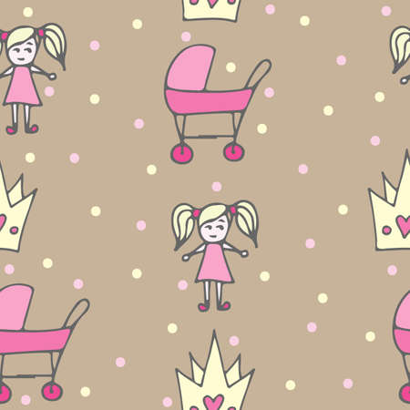 crone: Seamless pattern with crone, pink carriage and doll on beige background. For textile or book covers, manufacturing, wallpapers, print, gift wrap and scrapbooking. Illustration