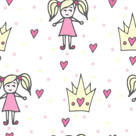 crone: Child seamless pattern with crone and doll in pink dress. Vector background for textile or book covers, manufacturing, wallpapers, print, gift wrap and scrapbooking.