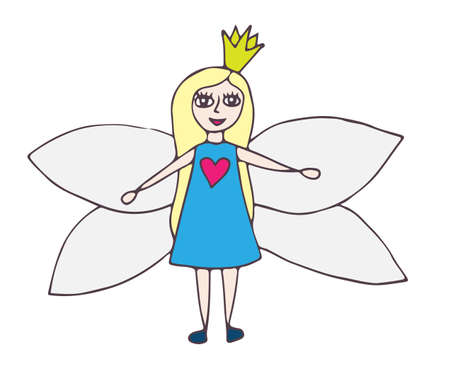 Fairy in blue dress with a pink heart with the exposed wings. Isolated vector illustration. Illustration